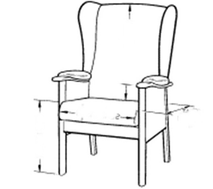 Internal and external chair dimensions