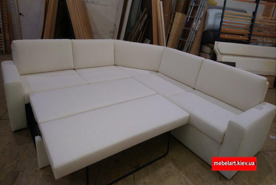 угловой раскладной диван белого цвета ос спальным местом