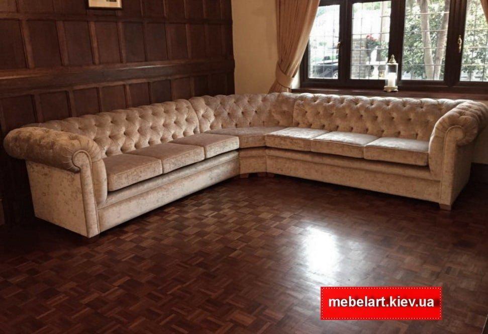 большой велюровый угловой диван