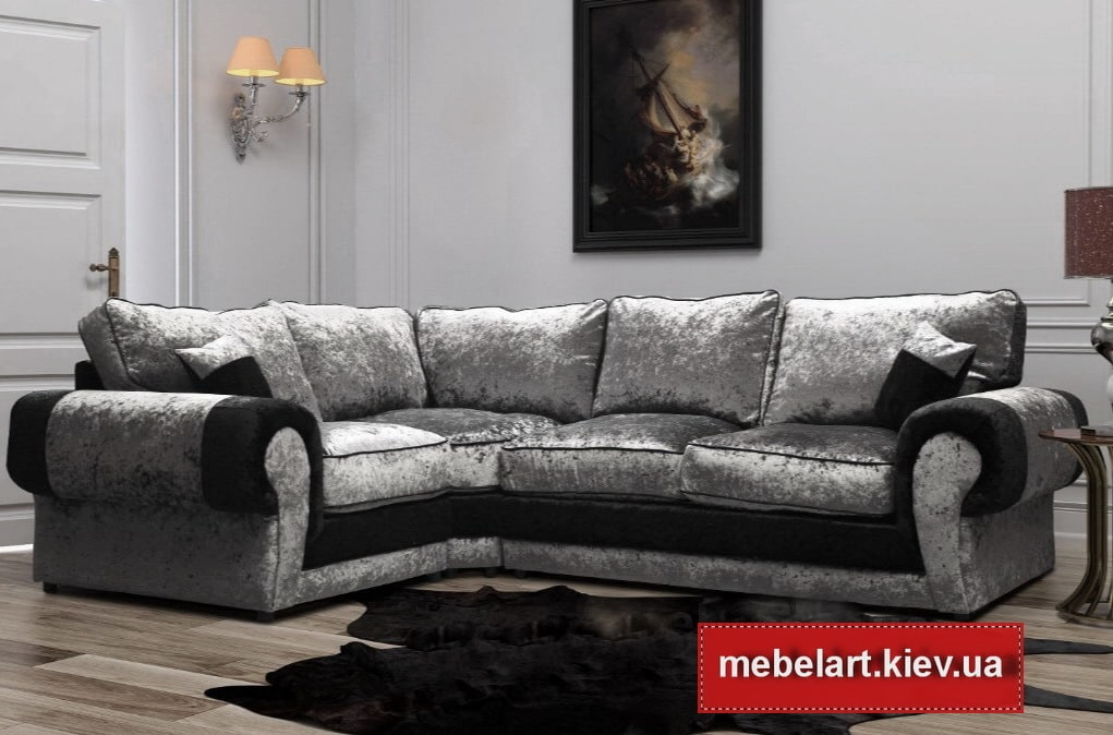 серо черный угловой диван