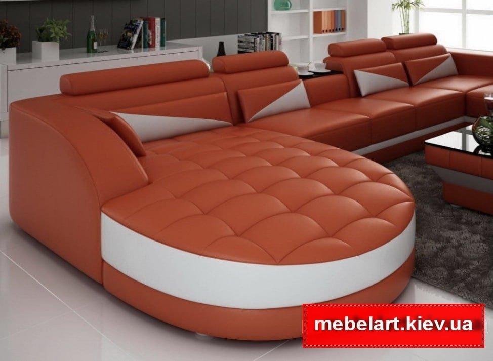 рыжий большой диван