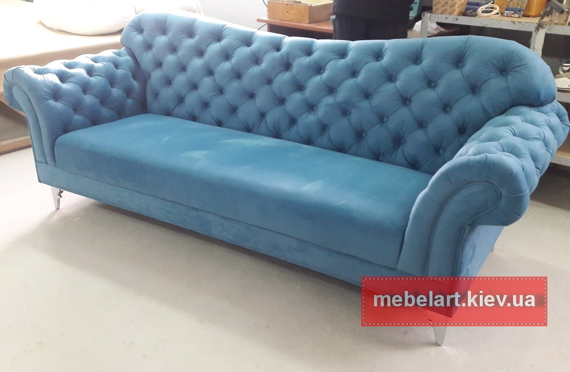 классический голубой диван