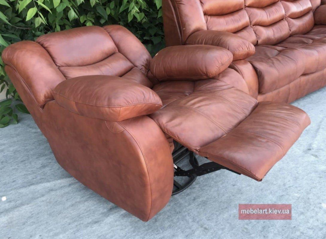 кожанный диван с реклайнером