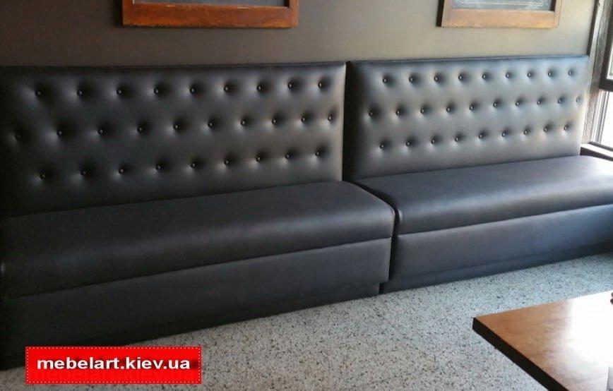 кожаный черный диван для кафе