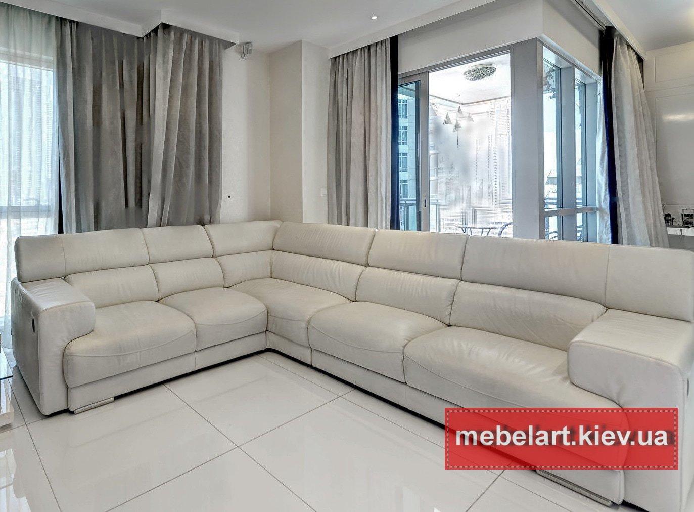 шикарный угловой диван белого цвета под заказ
