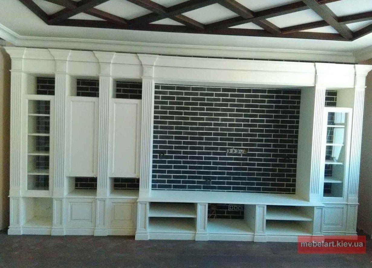 большой элитный шкаф с распашными деревянными дверями на заказ Киев