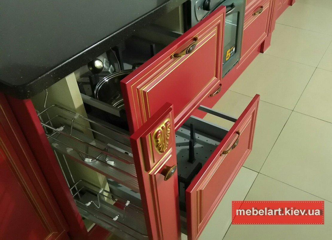 прямая красная кухня на заказ