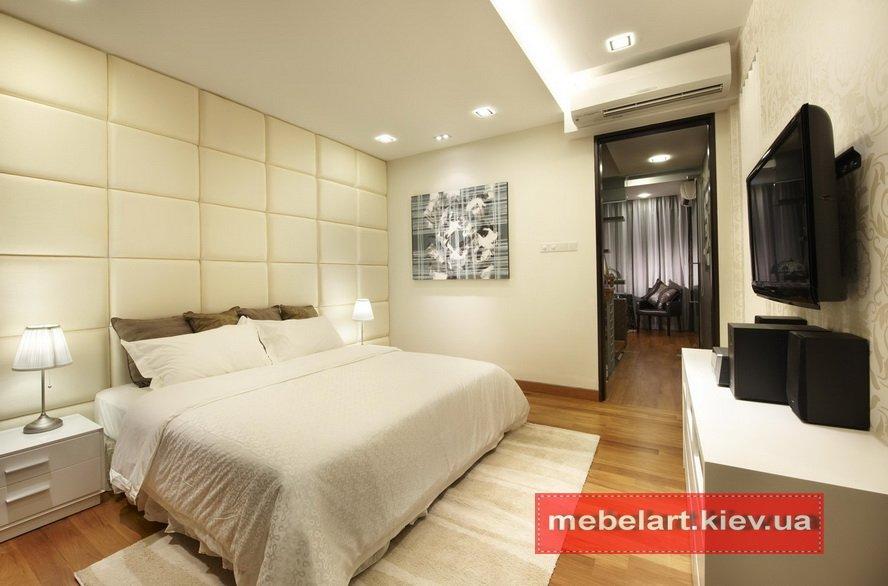 белая мягкая кровать под заказ