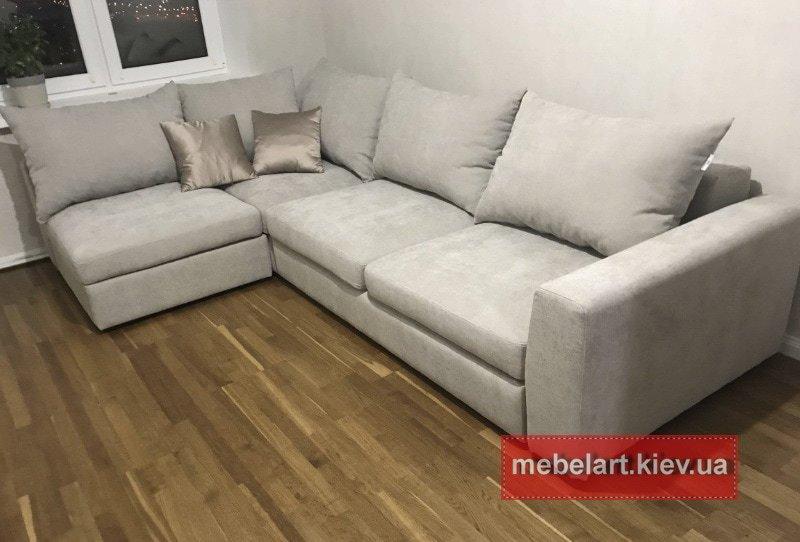 белый угловой диван на заказ в гостинную