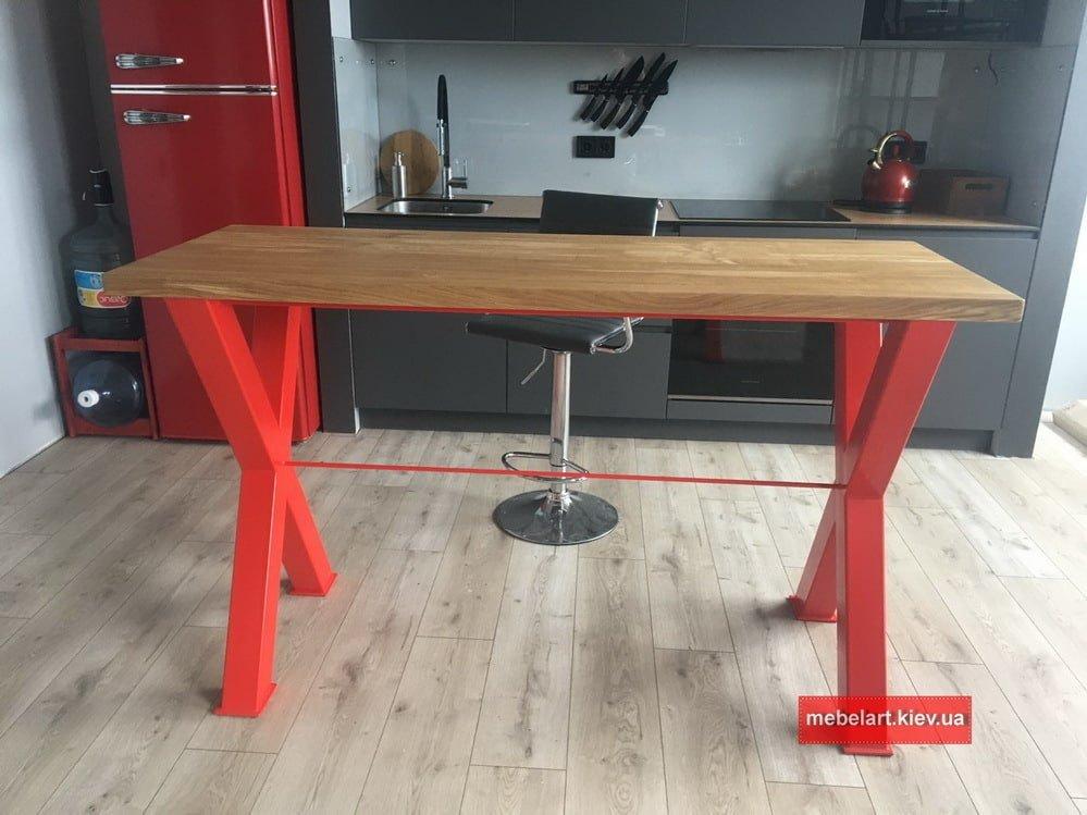 красный кухонный стол лофт под заказ фото