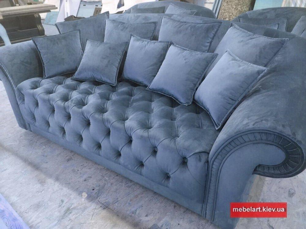 голубой диван с каретной стяжкой на заказ