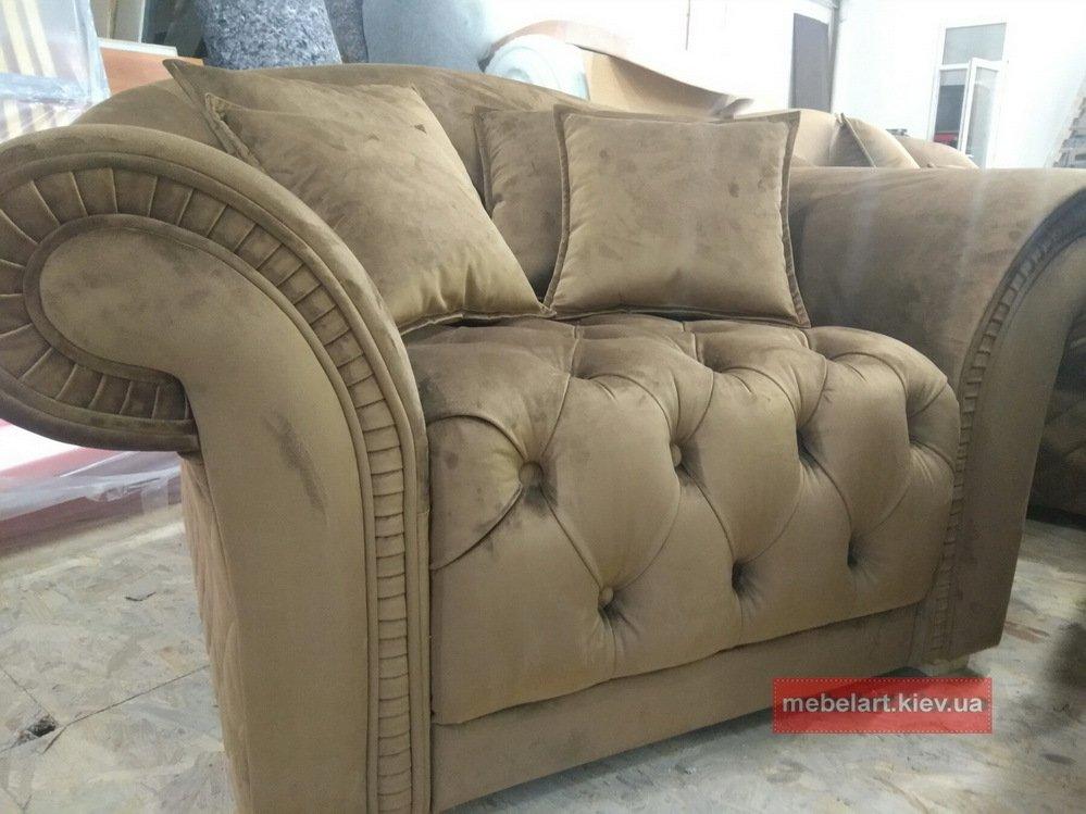 роскошный диван с креслами с каретной стяжкой на заказ