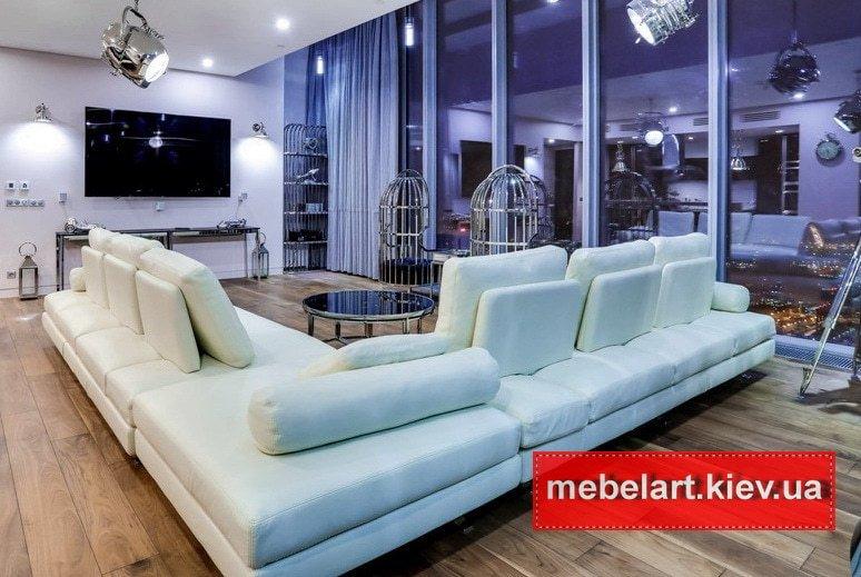 большой белый элитный угловой диван
