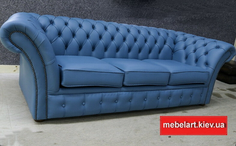 синий диван прямой формы из кожи