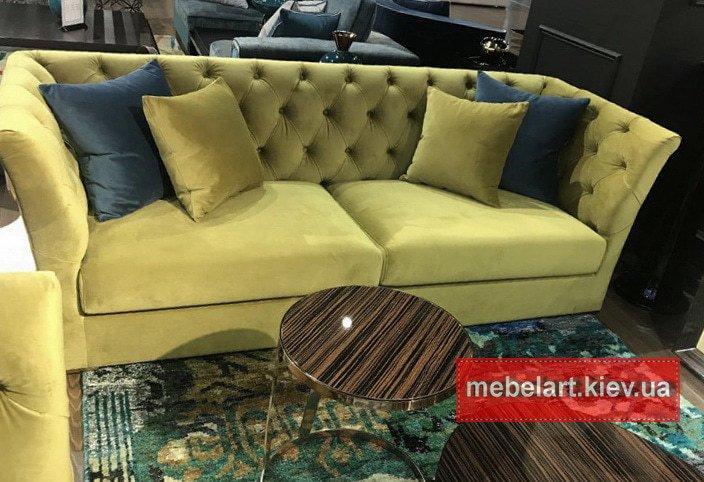 желтый прямой диван под заказ Киев