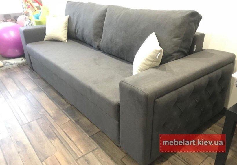 диван прямой темного цвета