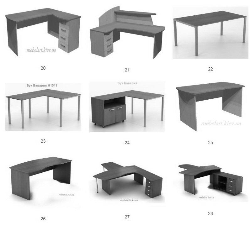 возможные формы эргономических столов